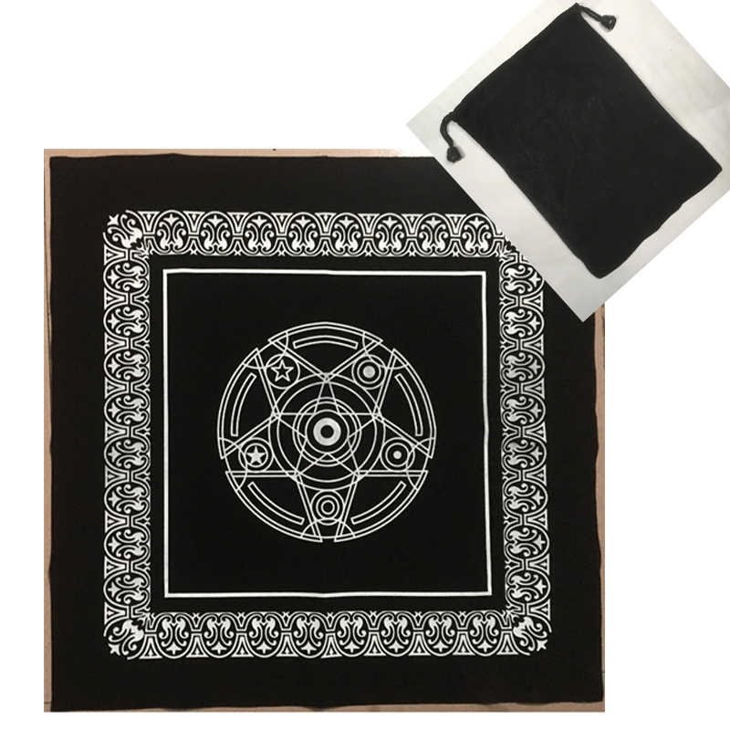 Black Altar Tarot Cards Bag Party Table Cloth Pentagram Retro Tablecloth For Divination Wicca Velveteen Tapestry Vintage
