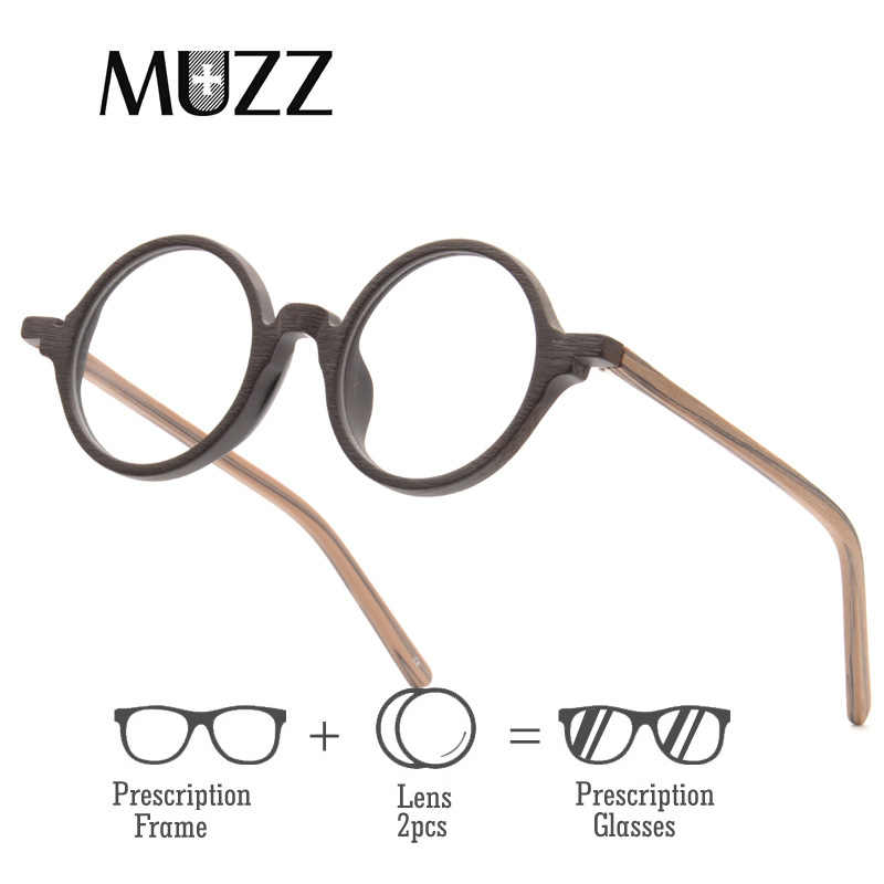 1c5239191763 MUZZ Prescription glasses Round Men Eyeglasses Frame Ultra-Light Vintage  Imitation Wooden Glasses Frame Acetate