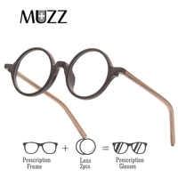 MUZZ Prescription glasses Round Men Eyeglasses Frame Ultra-Light Vintage Imitation Wooden Glasses Frame Acetate Glasses lens