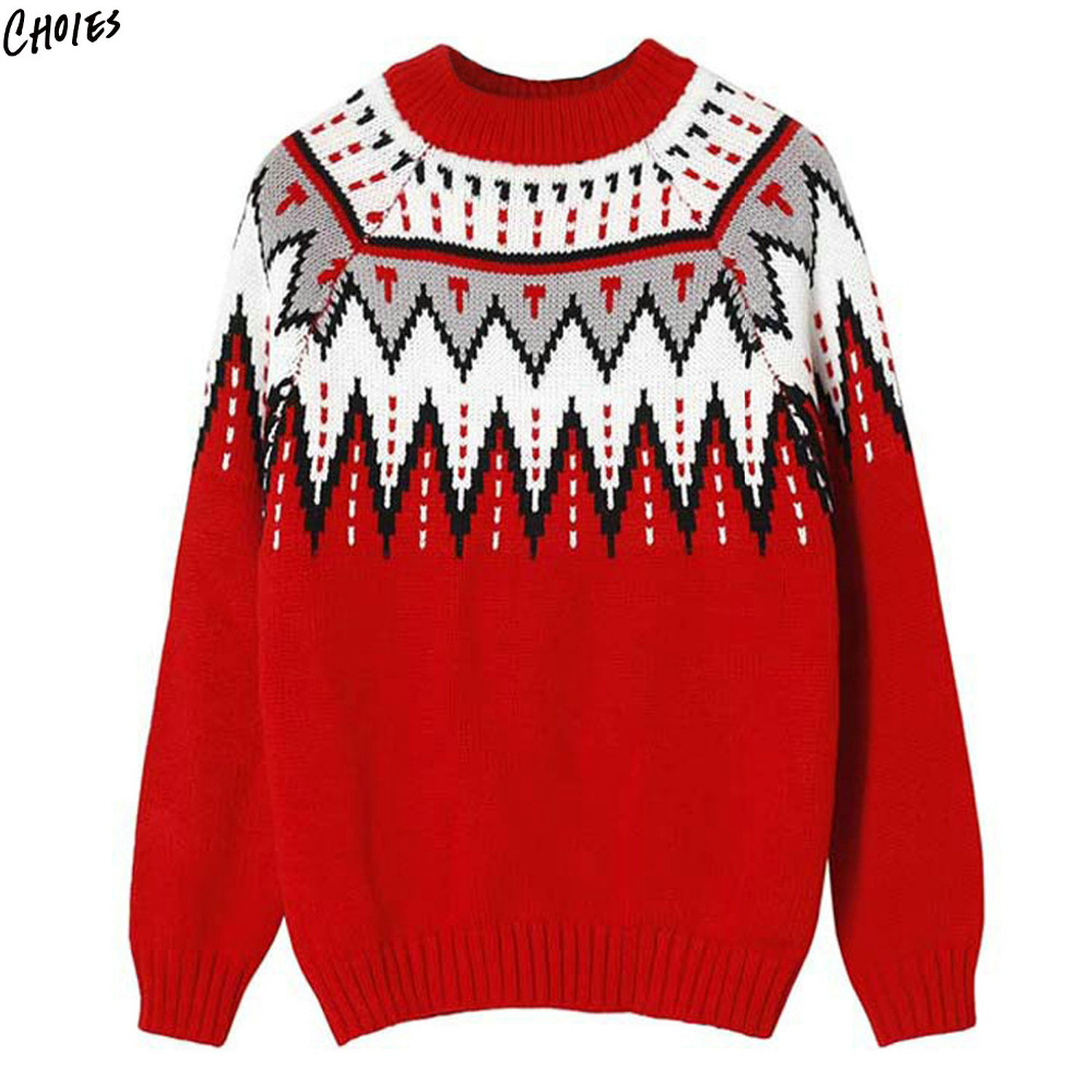Red Geometric Pattern Knitted 2017 Christmas Sweater Women Winter Long Sleeve Round Neck Thick Warm Jumper Top ...