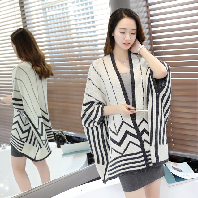 2016 New Autumn Overwear loose bat sleeve striped knit shawl cardigan sweater long section plus size women sweater B751