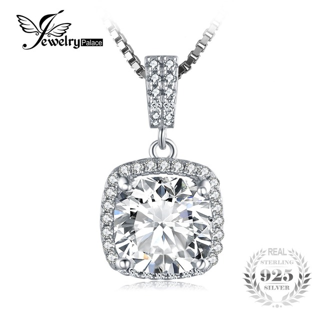 JewelryPalace Cushion 3ct Cubic Zirconia Halo Solitaire Pendant 925 Sterling Silver Wedding Jewelry For Women Not Include Chain