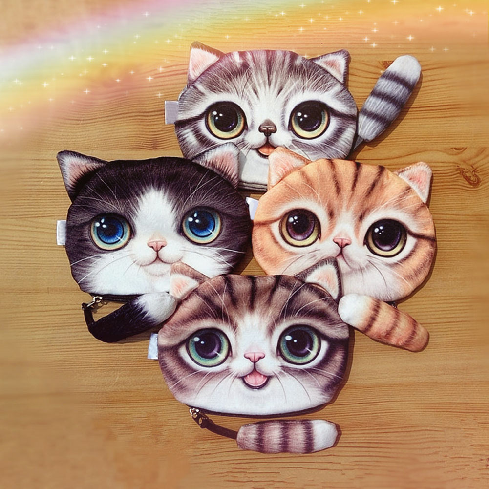 New Small Tail Cat Coin Purse Cute Kids Cartoon Wallet Kawaii Bag Coin Pouch Children Purse Holder Women Coin Wallet LX new cute cat face printed zipper coin purses for kids students pencil case cartoon wallet bag coin pouch children purse holder
