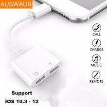 a7dea4175c8 Adaptador de Audio de carga doble Jack para iPhone 7 8 Plus X IOS 12 música  o llamada para carga de Audio de auriculares convert.