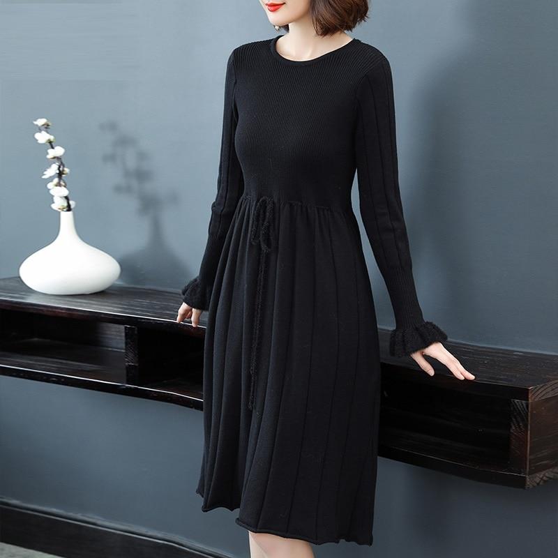 Pull Midi Manches Confortable Cordon Tricoté Robe Empire Lady Flare Extensible Xxxxxl Casual Noir 8nOwPk0