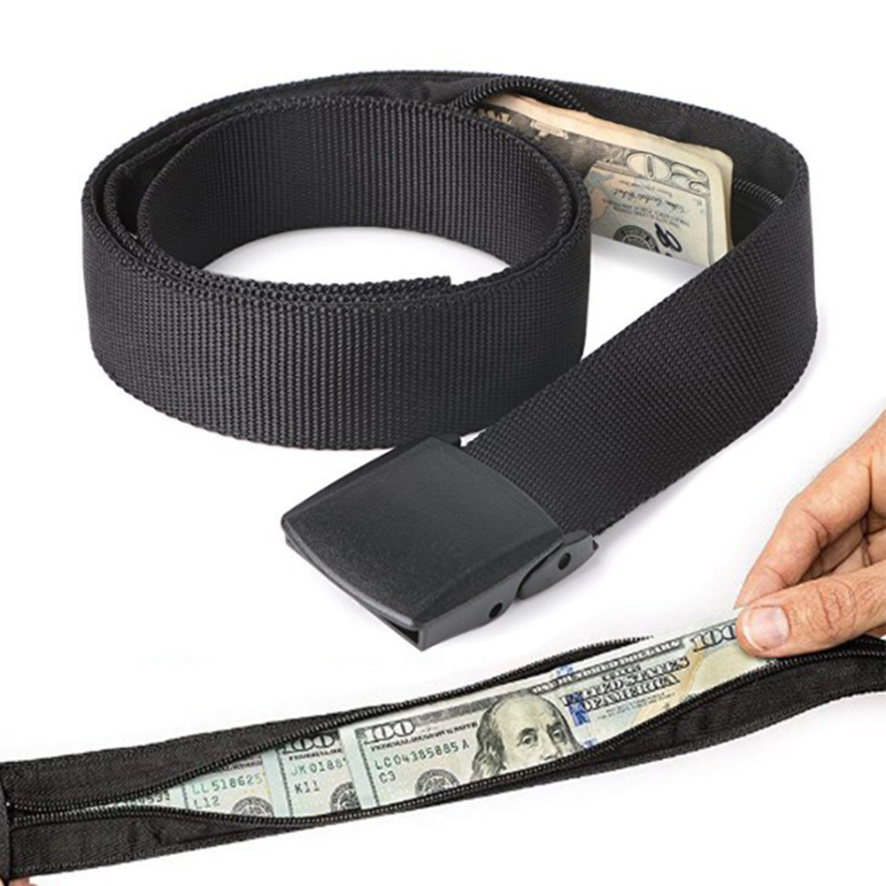 1Pc Travel Hidden Cash Money Belt Bag Solid Casual Anti Theft Waist Bag Unisex High Quality Fanny Pack Metal Buckle Wholesale