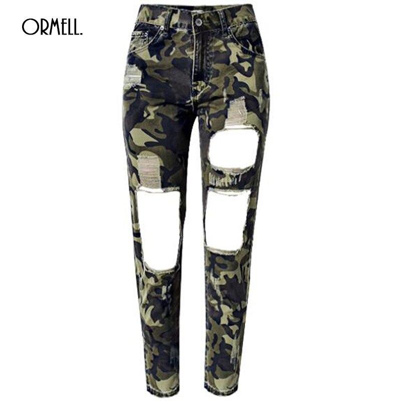ORMELL Women Jeans Skinny Pencil Hole Pants Ripped Denim Camouflage Female Slim Trousers Summer Leggins Cotton High Elastic стол раскладной сп 09 1 с ящиком лдсп венге