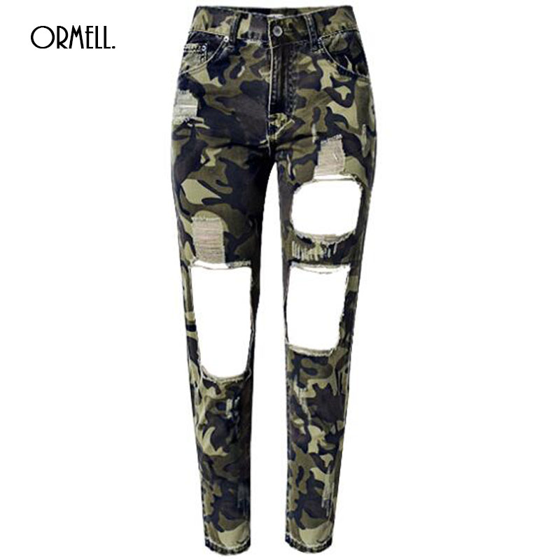 ORMELL Women Jeans Skinny Pencil Hole Pants Ripped Denim Camouflage Female Slim Trousers Summer Leggins Cotton High Elastic