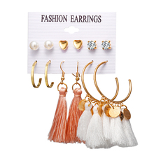 CHENFAN fashion earrings for women New Earrings Cross-border Hot Sale Bohemian Moon Triangle Tassel Stud Earring Set 6 Pairs
