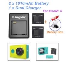 New kingma xiaomi yi xiaoyi da bateria 2 pcs 1010 mah bateria, bateria carregador duplo para câmera ação yi yi xiao acessórios xiaomi yi(China (Mainland))