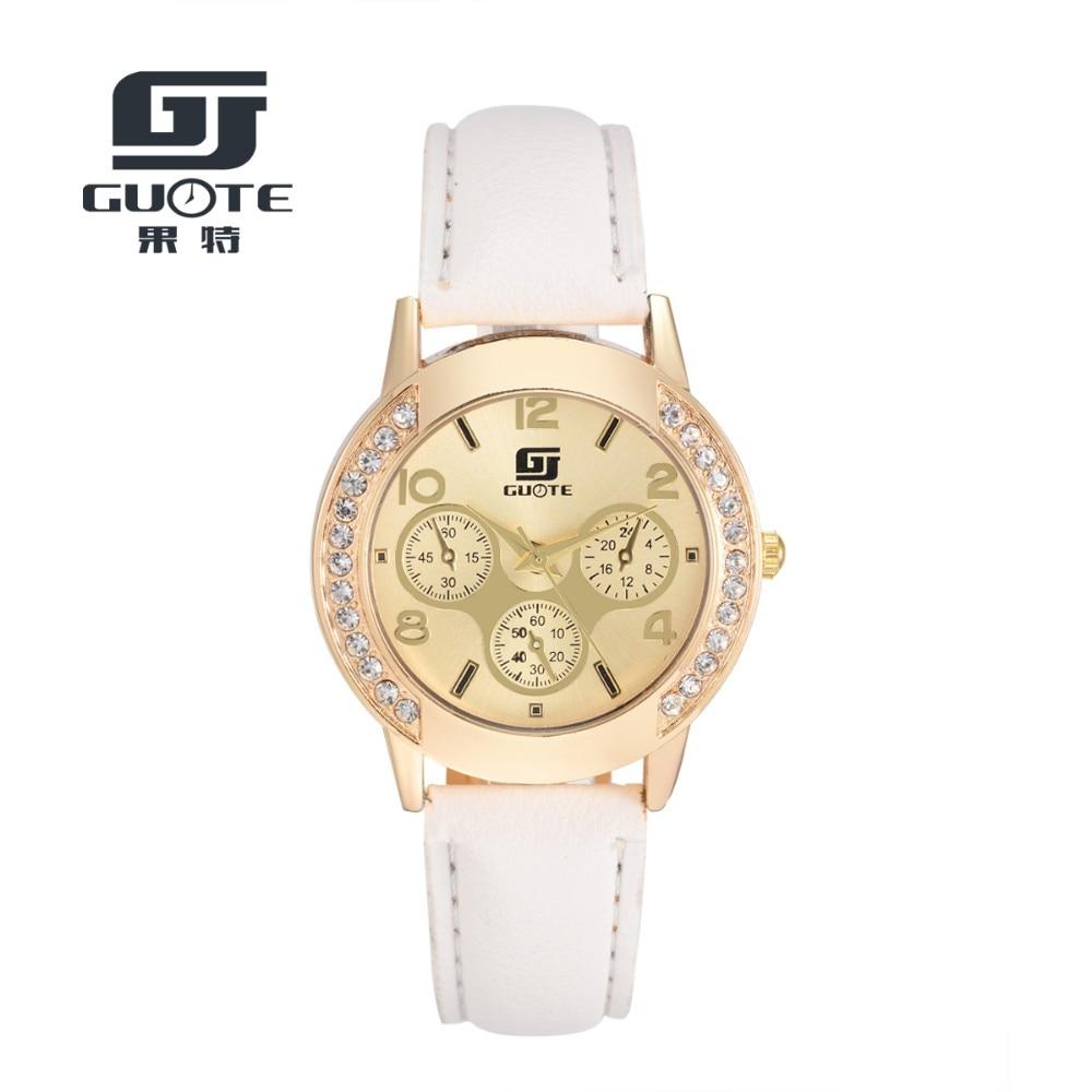 Brand Luxury GUOTE Watches Women Rhinestone Quartz Watch Reloj Mujer Crystal Watch Women Fashion Dress Leather Dand Wristwatches