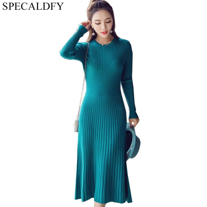высокое качество модные осенние вязаные платья женские с длинным