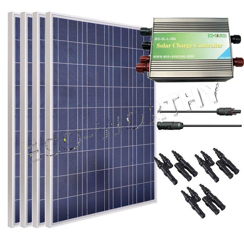 400 Watt Solar Panel Kit 4 pieces 100 W Solar Panel w MC 4 Branch Connector & Controller