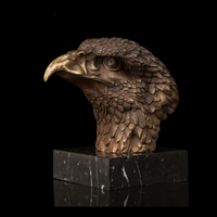 Factory Supplier Bronze Statues Chinese FengShui Lucky Eagle Head Statue Modern Fortune Hawk Sculpture Brass Business