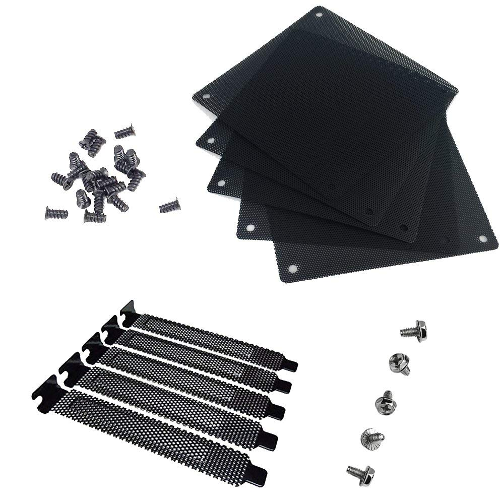 5pc 12mm PVC Computer PC Cooler Fan Filter Black Dustproof Case Cover Mesh Pack + 5pc Dust Filter Blanking Plate PCI Slot Cover