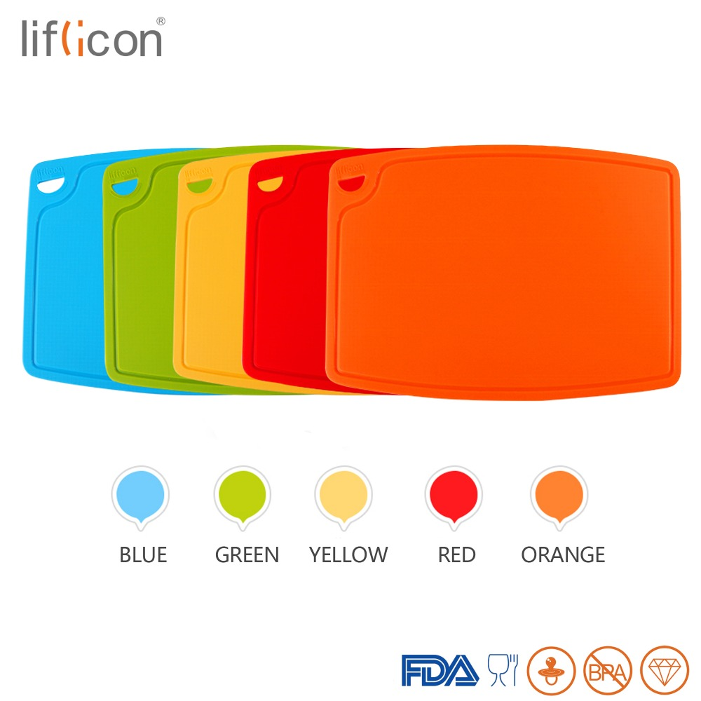 Liflicon 2pcs Silicone Cutting Boards Chopping Boards Blocks Separetely Cutting Boards Non slip Heat Resistant Blocks