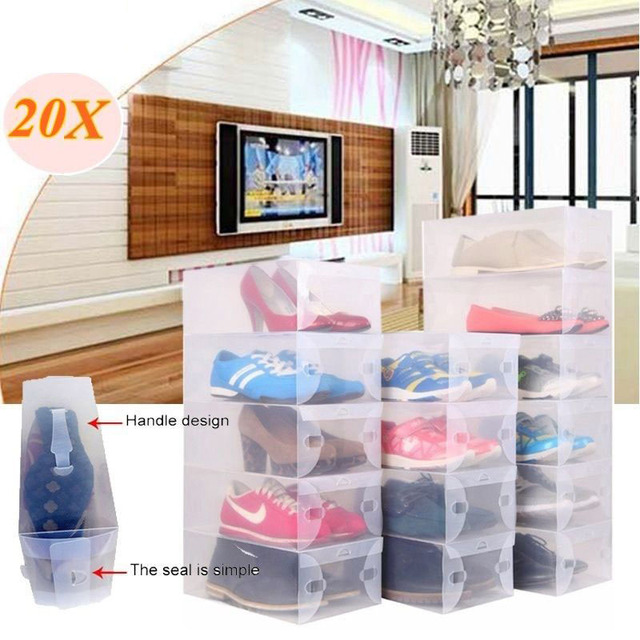 Superieur 20Pcs Transparent Clear Plastic Shoes Storage Boxes Foldable Shoes Case Holder  Containers Home Storage