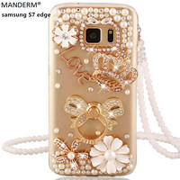 Luxury Brand Rhinestone S7 Edge Stand Holder Case Cover For Samsung Galaxy S7 Edge Silicone Soft