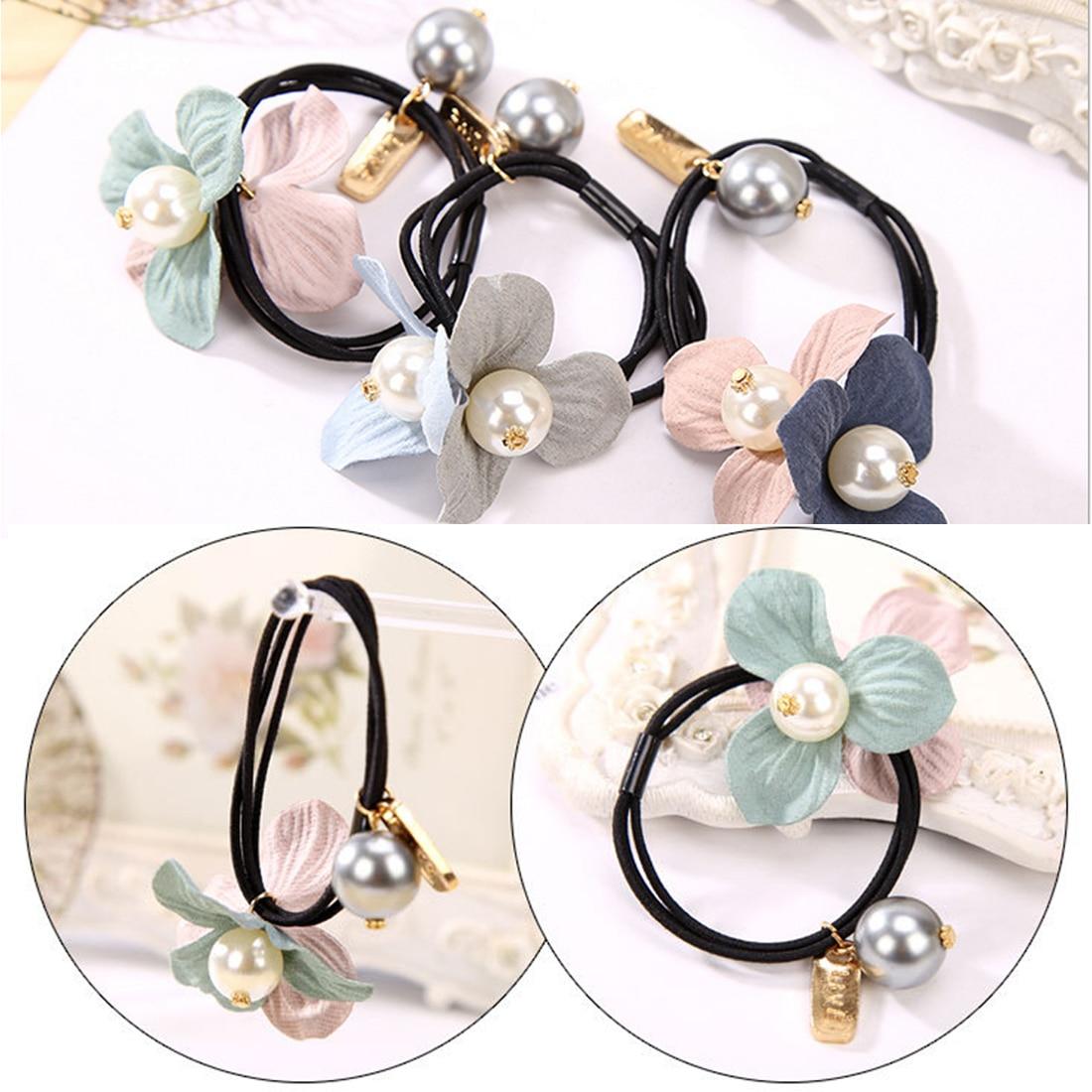 Hair Rope Headbands Elegant Three Leaf Simulated Pearl Flowers Elastic Hair Ring Bands Hair Accessories for Women Girls