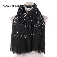 FOXMOTHER New Fashion Black White Cor Da Marinha Foil Sliver Estrela Cachecol Franja Hijab Muçulmano Xaile Wraps Estrela Lenços Das Senhoras Das Mulheres