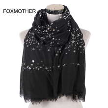 FOXMOTHER New Fashion Black White Navy Color Foil Sliver Star Scarf Fringe Hijab Muslim Shawl Wraps Star Scarves Women Ladies