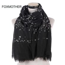 FOXMOTHER Nieuwe Mode Zwart Wit Navy Kleur Folie Sliver Star Sjaal Fringe Hijab Moslim Sjaal Wraps Ster Sjaals Vrouwen Dames