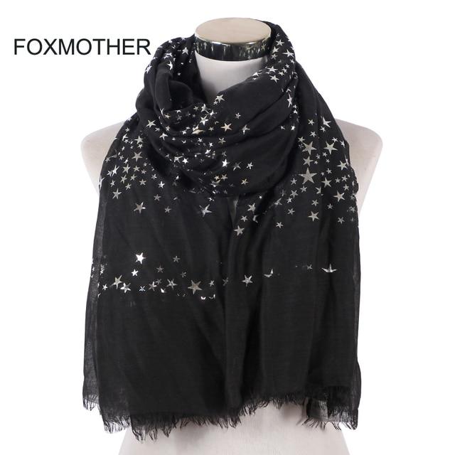 FOXMOTHER חדש אופנה שחור לבן כהה צבע רדיד רסיס כוכב שוליים צעיף חיג אב מוסלמי צעיף כורכת צעיפי כוכב נשים גבירותיי
