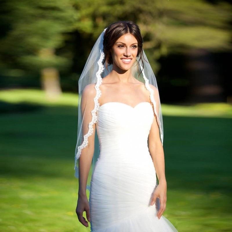 Romantisk vit elfenben Korta bröllopslingor med kam Bridal Veil Veu - Bröllopstillbehör - Foto 3