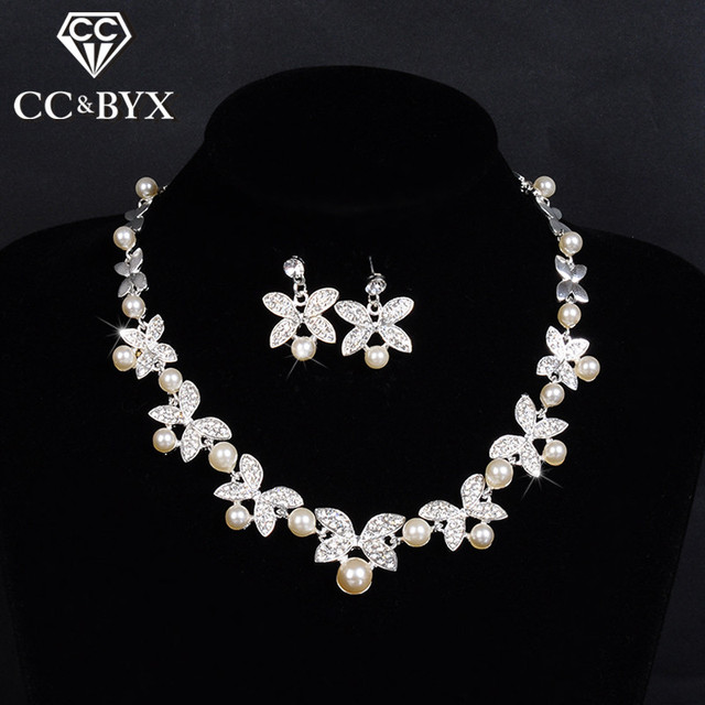 Fantastic beautiful wedding jewelry sets for brides simulated pearl