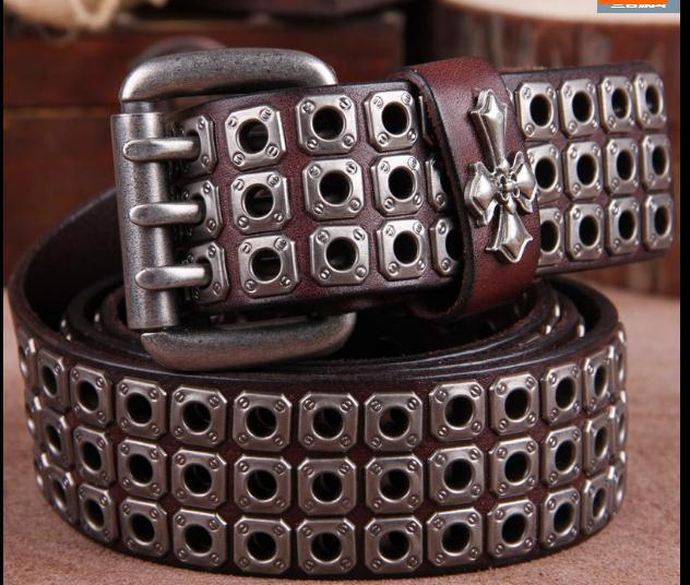 Free Shipping,Top new natural 100% cow leather buckle belt.brand genuine leather fashion vintage rivet belts,self defense tool