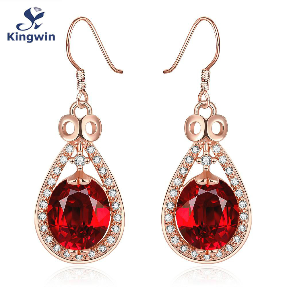 Red Zircon Rose Gold Color Dangle Earrings Female Fashion Wedding Jewelry  Wholesale Drop Earrings(china