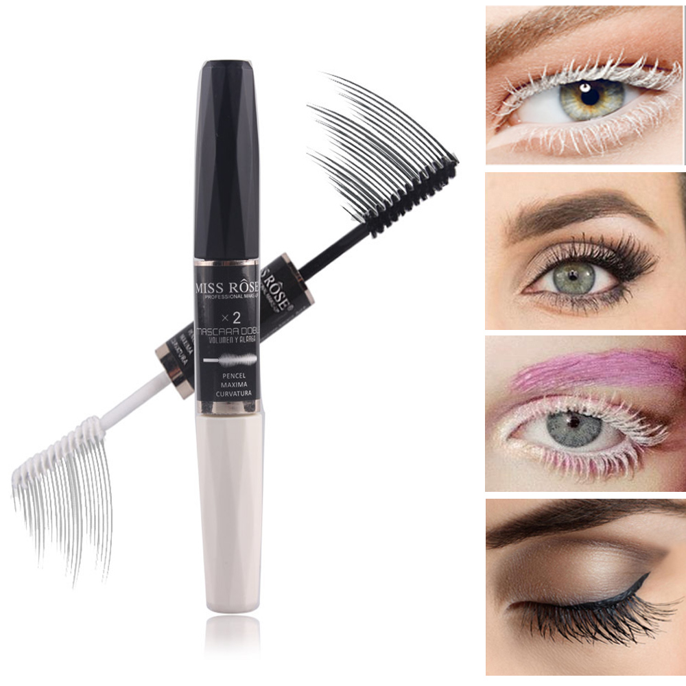 Miss Rose makeup dual color black white mascara waterproof mascara for 3D eyelashes extension Thick curling mascara 12g MS115 image
