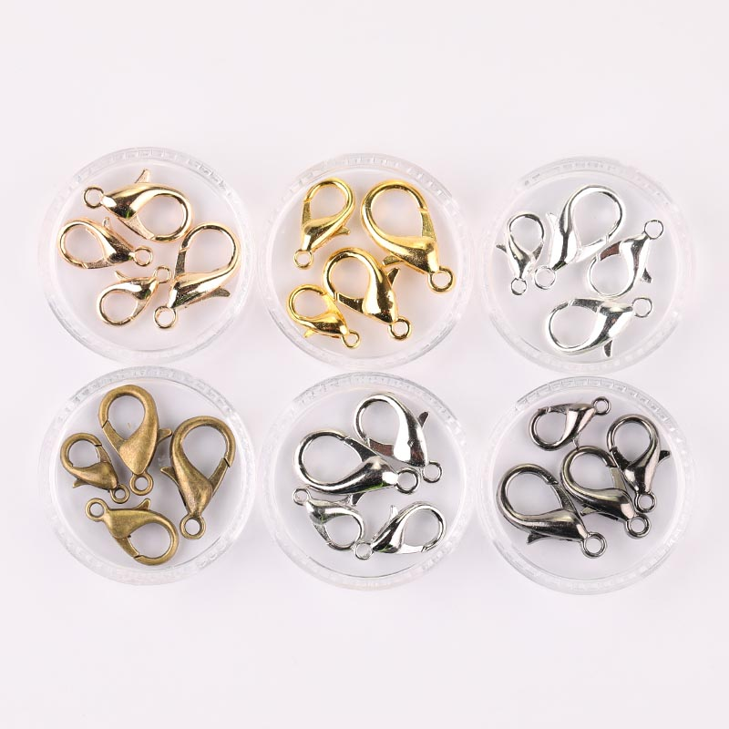 100pcs Metal Lobster Clasps Hooks For Jewelry Finding KC Gold Silver Gun Black Color Connect Buckle