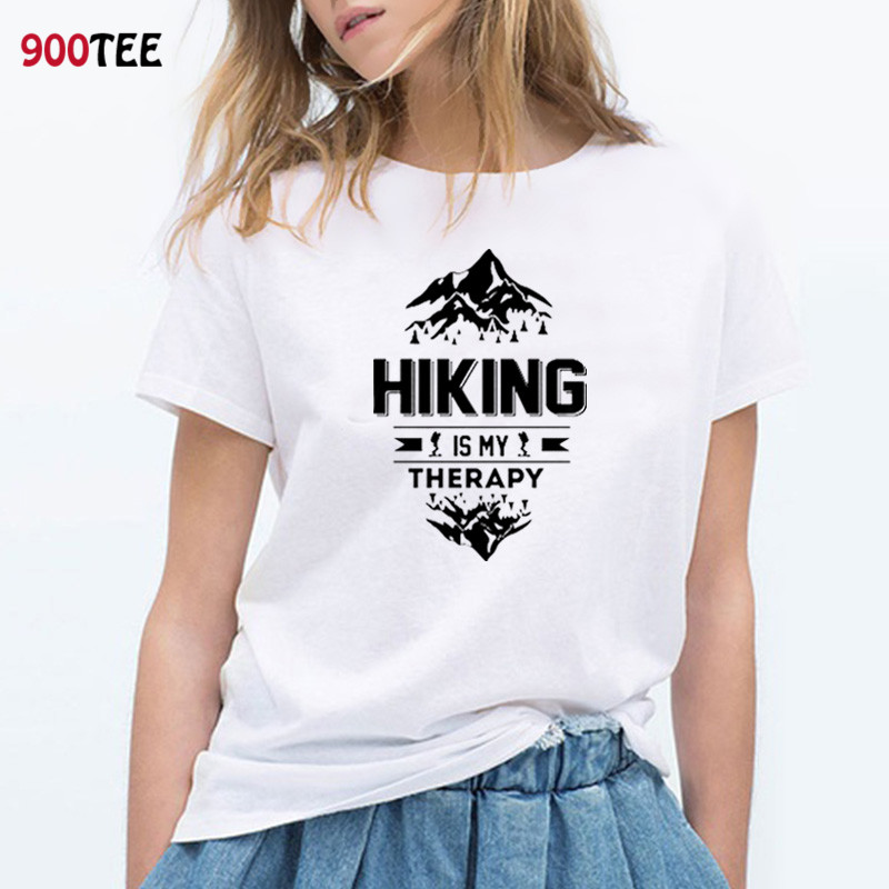 Summer Tops For Women 2019 Summer Short Sleeve O-neck T Shirt Cotton Loose Fit Tshirt Funny Mountain Clothing Female Plus Size