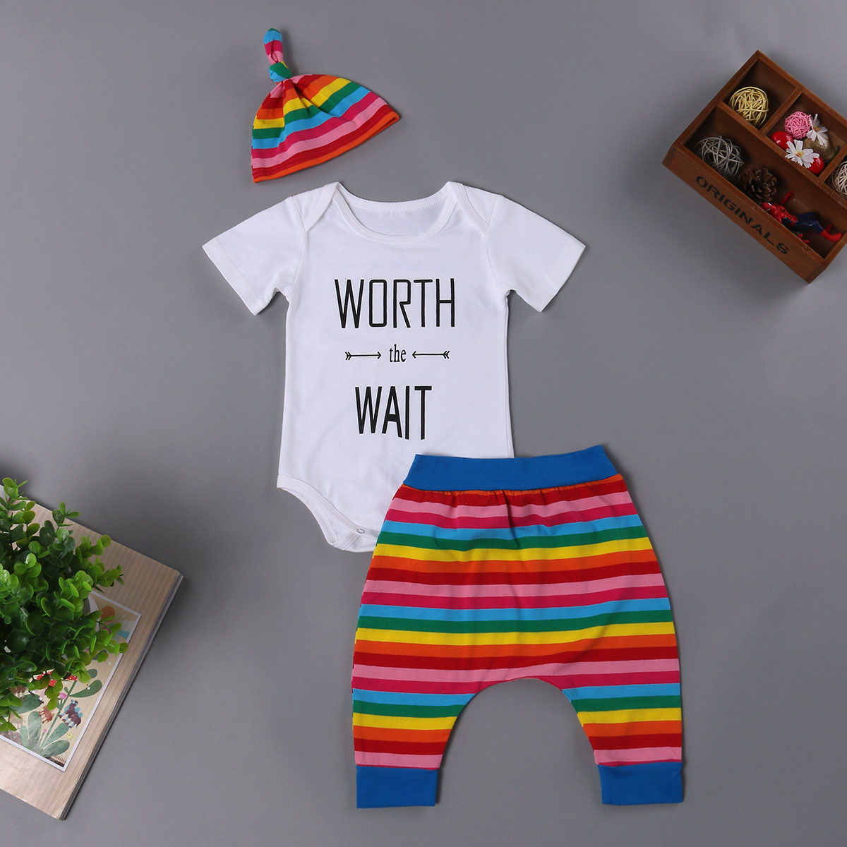 New Baby Boy Girl Rainbow 3PCS Infant Outfit Romper+Long Pants+Hat baby girl clothes baby girl Clothes Set