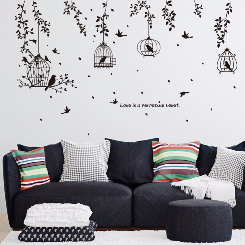 Black Bird Cage And Leaves Silhouette Patterns PVC Wall Stickers TV Background Wall Stickers Decorative  Dining Hall Dormitory