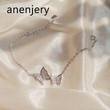 ANENJERY-pulsera de plata de primera ley y circón para mujer, brazalete, plata esterlina 925, Circonia cúbica, zirconia, circonita, zirconita, circón, circón, 14cm + 3,5 cm, S-B224