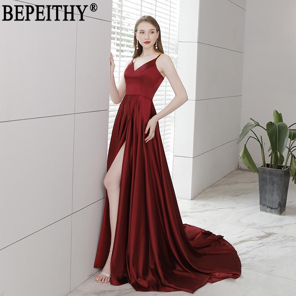 BEPEITHY Vestido De Festa New Design Sexy Slit Formal Dress Burgundy V Neck  Long Evening Dresses Reflective Dress 2019 403cce024fd8