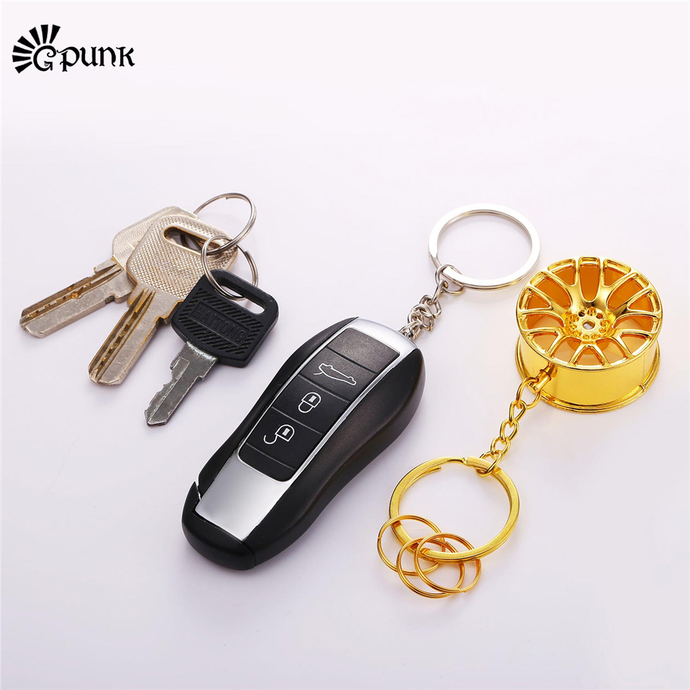Color wheel online - Luxury Car Key Chains For Men Gold Color Key Ring With Circles Creative Wheel Hub Chain