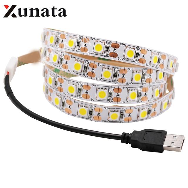 0.5m 1m 2m 3m 4m 5m DC 5V USB White/Warm White 60Leds/m Led Strip Light DC 12V 5050 Flexible Led Strip Light