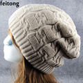 Feitong Beanie Men Women Hat Newly Double Decked Hemp Flower Knitting Winter Hats For Women Warm Winter Cap Bonnet