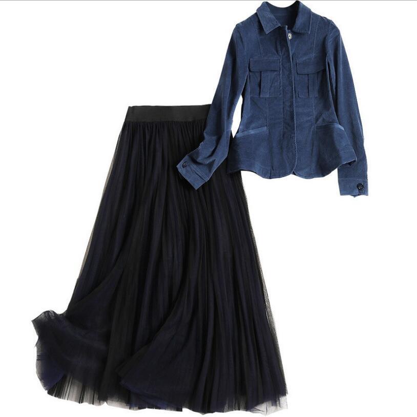 Vluchten Zoeken Herfst Jurk Pak Vrouwen Nieuwe Lange Mouwen Corduroy Shirt Jasje + Hoge Taille Mesh Rok Twee Stuk Dames Mode Rokken Sets Een Onmisbare Soevereine Remedie Voor Thuis