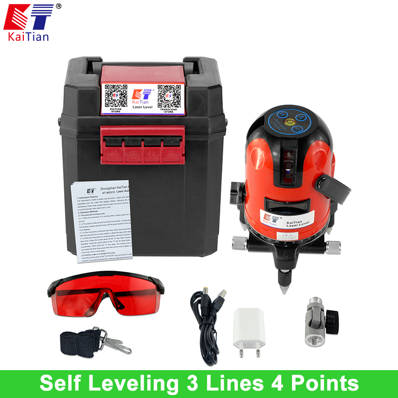 KaiTian Cross Line Laser Level with 360 Rotary Tilt Function/Outdoor Euro Plug 635nM Leveler 3 Lines 4 Point Self Leveling Level cross line laser the tool measuring laser leveler 5 lines 1 point 4v1h laser level