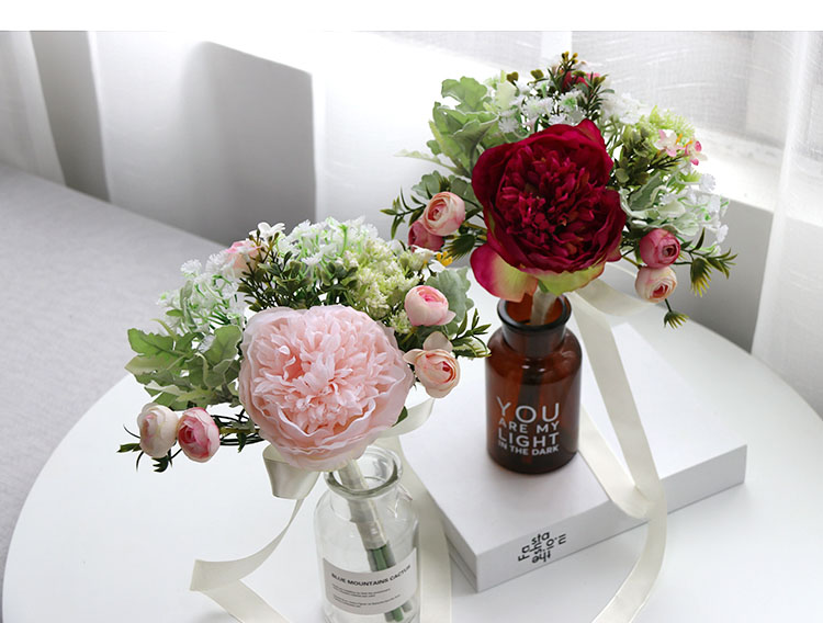 Wedding Bouquet for bridesmaids flowers artificial rose peony (20)