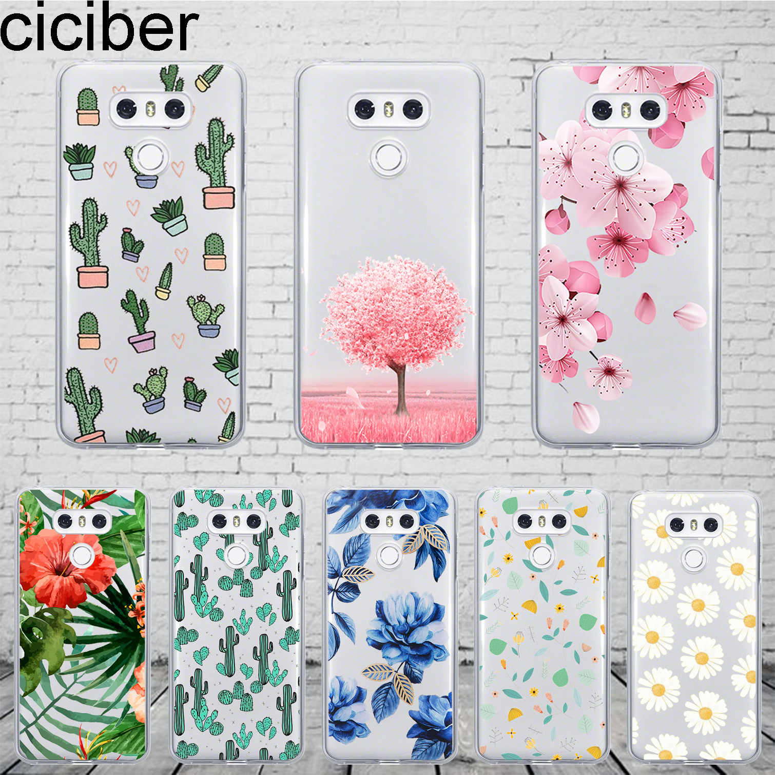 Ciciber Plants Cactus For LG G7 G6 G5 G4 V40 V35 V30 V20 ThinQ Phone Case Silicone TPU For LG K8 K10 K4 2017 2018 K9 K11 Plus