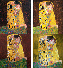 ФОТО hand painted oil paintings reproduction gustav klimt the kiss lovers art canvas figure painting woman golden wall decor framed
