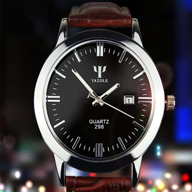 YAZOLE Brand Beauty Mo 2019 Newest Man Leather Band Calendar Date Analog Quartz Waterproof Wrist Watch