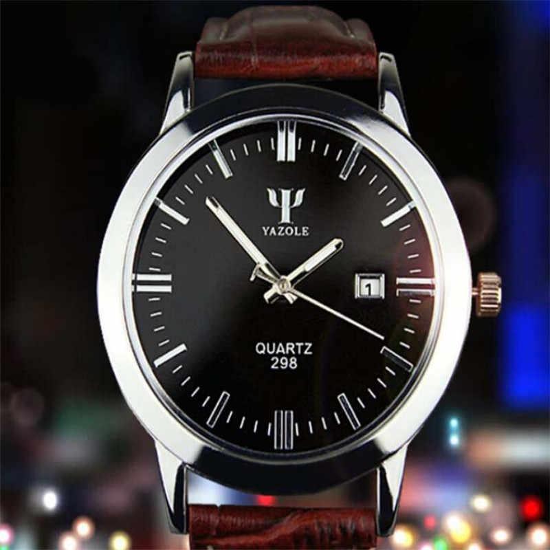 YAZOLE Marke Schönheit Mo 2019 Neueste Mann Leder Band Kalender Datum Analog Quarz Wasserdichte Armbanduhr curren uhr männer