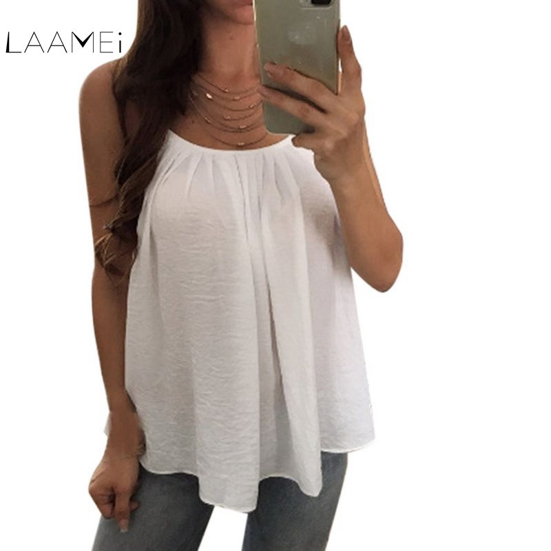Laamei Tank Tops Women 2018 New Summer Sleeveless Shirt Sexy O-neck Camis Loose Casual Female Slim Tee Tops Vest Ladies Clothing