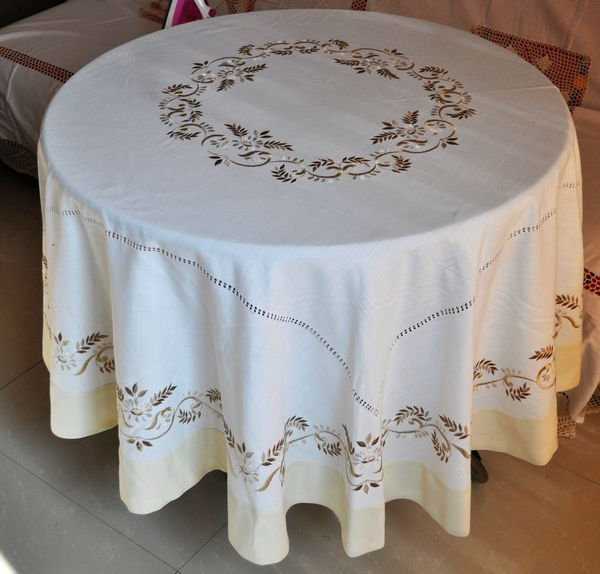 Comprar offwhite vainica hecha a mano mantel bordado de embroidered tablecloth - Manteles bordados ...